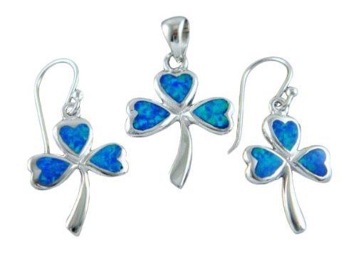925 Sterling Silver Hawaiian Blue Opal Celtic Shamrock Pendant Earrings Set