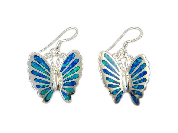 925 Sterling Silver Hawaiian Blue Inlay Fire Opal Butterfly Dangle Earrings Set 8gr