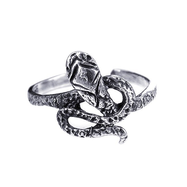 925 Sterling Silver Snake Oxidized Adjustable Pinky Toe Ring
