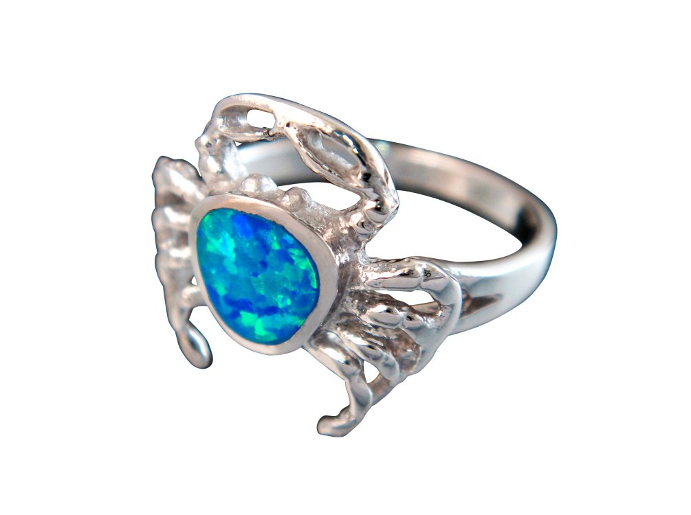 925 Sterling Silver Hawaiian Blue Fire Inlay Opal Sea Crab Ring
