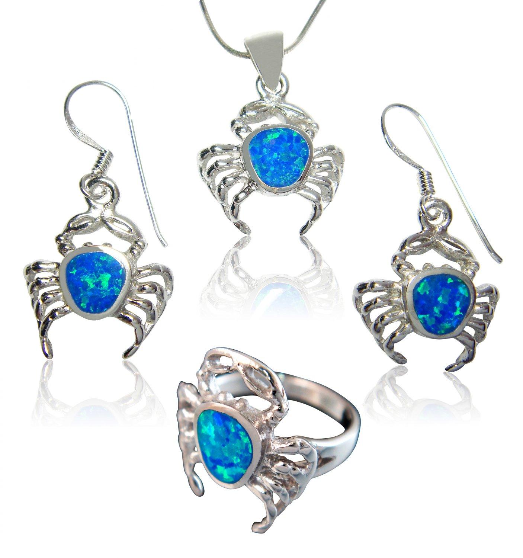 925 Sterling Silver Hawaiian Blue Opal Crab Ring Pendant Dangle Earrings Set