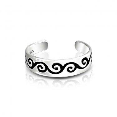 925 Sterling Silver Celtic Irish Swirl Whirl Adjustable Pinky Toe Ring