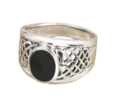 925 Sterling Silver Mens Oval Black Onyx Inlay Celtic Woven Mesh Knot Ring