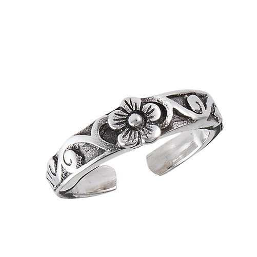 925 Sterling Silver Flower Oxidized Adjustable Pinky Toe Ring