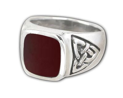 925 Sterling Silver Men's Rectangle Carnelian Celtic Irish Trinity Knot Ring