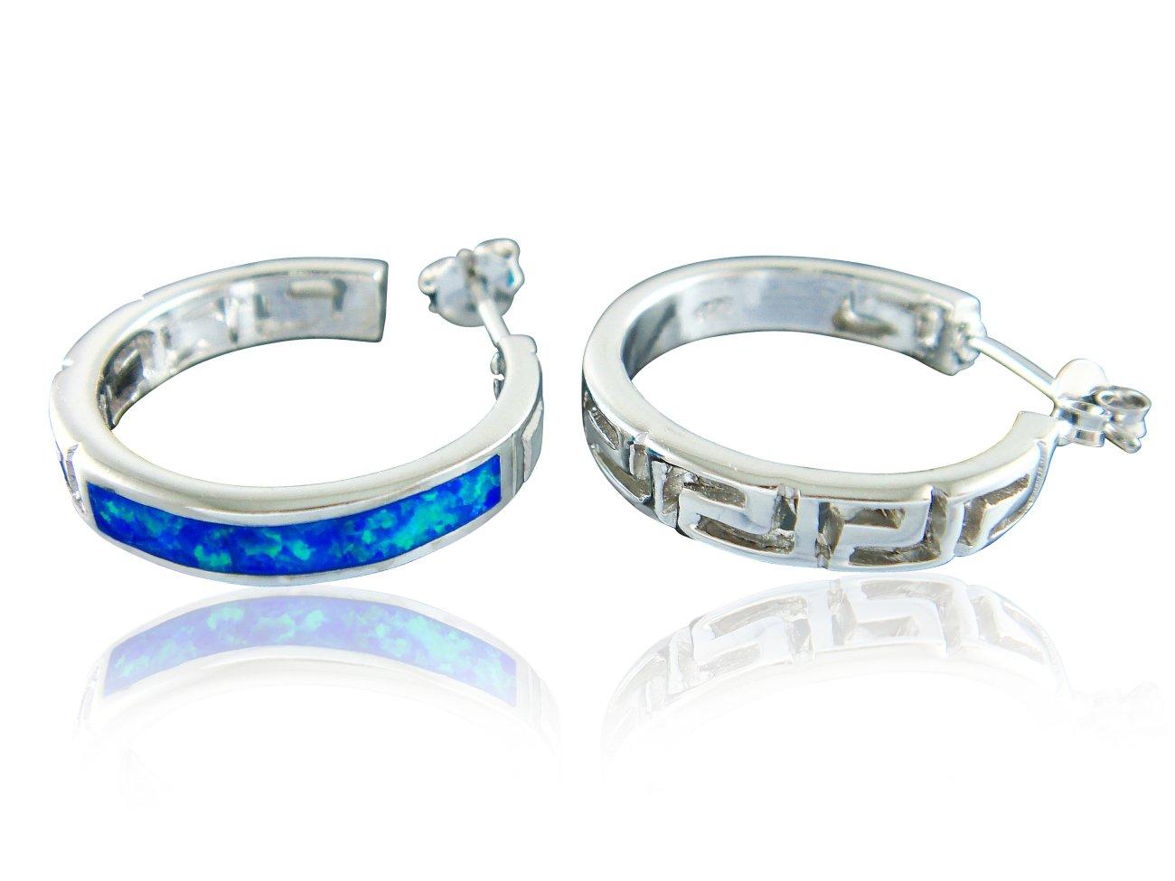 925 Sterling Silver Hawaiian Blue Opal Greek Key Meander Meandros Stud Earrings Set