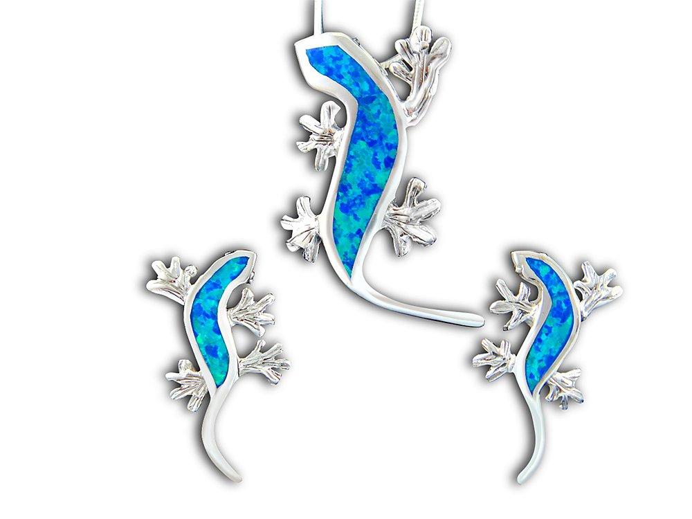 925 Sterling Silver Hawaiian Blue Opal Lizard Pendant Stud Earrings Set