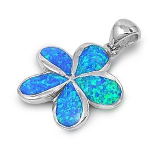 925 Sterling Silver Pendant Hawaiian Blue Opal Plumeria Flower