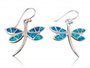 925 Sterling Silver Hawaiian Blue Fire Inlay Opal Dragonfly Dangle Earrings Set