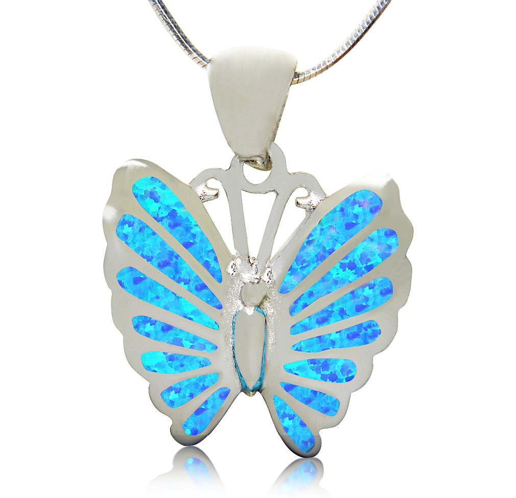 925 Sterling Silver Hawaiian Blue Inlay Fire Opal Lovely Butterfly Charm Pendant