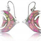 925 Sterling Silver Pink Fire Inlay Opal Fish Dangle Earrings Jewelry Set
