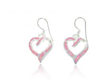 925 Sterling Silver Pink Fire Inlay Opal Love Heart Dangle Earrings Set