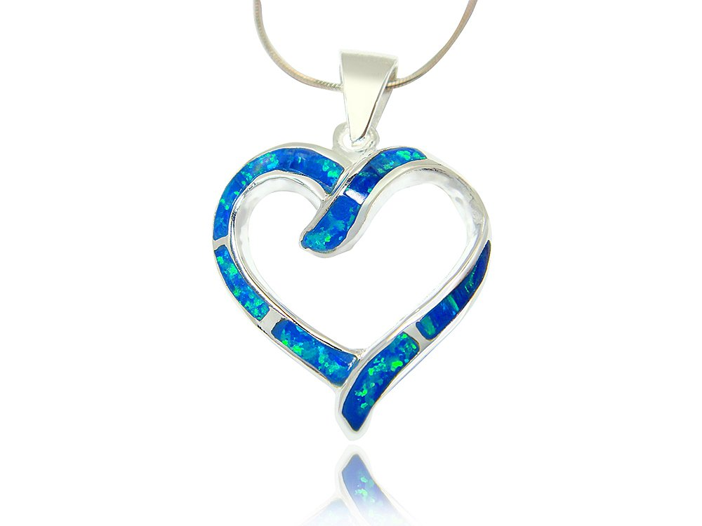 925 Sterling Silver Hawaiian Blue Fire Inlay Opal Love Heart Charm Big Pendant