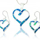 925 Sterling Silver Hawaiian Blue Fire Inlay Opal Love Heart Dangle Earrings Pendant Set