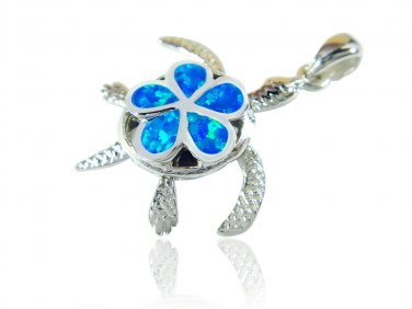 925 Sterling Silver Hawaiian Blue Opal Plumeria Sea Turtle Honu Moving Legs Pendant