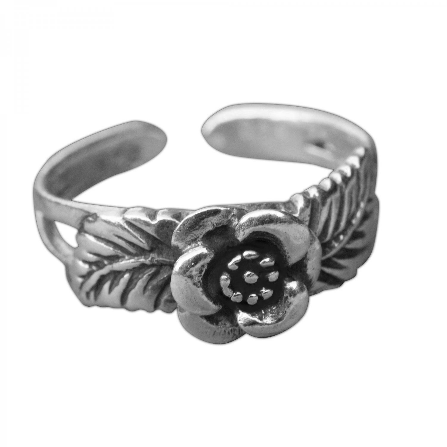 925 Sterling Silver Rose Leaf Oxidized Adjustable Pinky Toe Ring