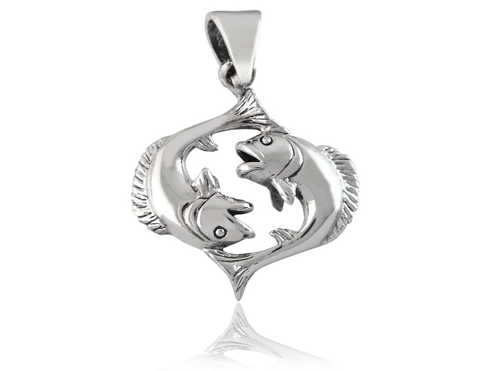 925 Sterling Silver Zodiac Star Sign Pisces Fish Sea Charm Pendant