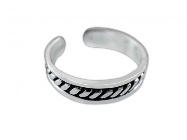 925 Sterling Silver Bali Style Twist Oxidized Adjustable Pinky Toe Ring