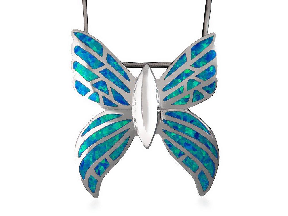 925 Sterling Silver Hawaiian Blue Inlay Fire Opal Butterfly Monark Big Charm Pendant 9gr