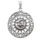 925 Sterling Silver Sun Crescent Moon Faces Celtic Irish Infinity Knots Charm Pendant