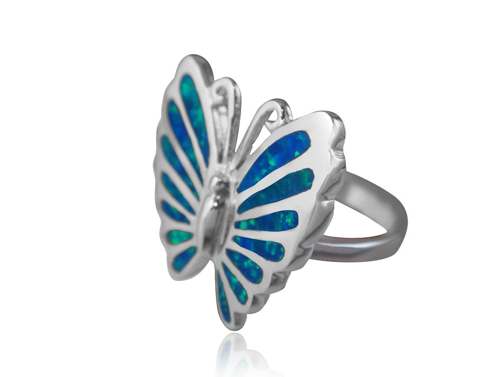 925 Sterling Silver Hawaiian Blue Fire Inlay Opal Lovely Butterfly Ring