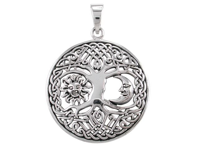925 Sterling Silver Sun Crescent Moon Faces Celtic Knots Tree of Life Round Charm Pendant
