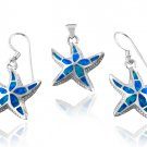 925 Sterling Silver Hawaiian Blue Fire Inlay Opal Starfish Pendant Dangle Earrings Set
