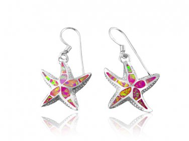 925 Sterling Silver Pink Fire Inlay Opal Starfish Sealife Sea Dangle Earrings Set