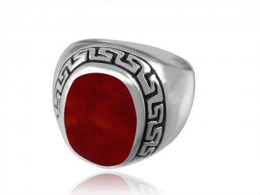 925 Sterling Silver Men's Oval Carnelian Engraved Greek Key Meander Thick Ring