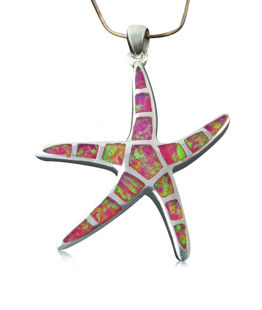 925 Sterling Silver Pink Fire Inlay Opal Sea Life Big Starfish Charm Pendant 7gr