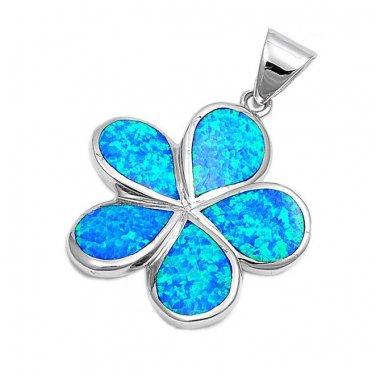925 Sterling Silver Hawaiian Blue Fire Inlay Opal Plumeria Flower Charm Pendant