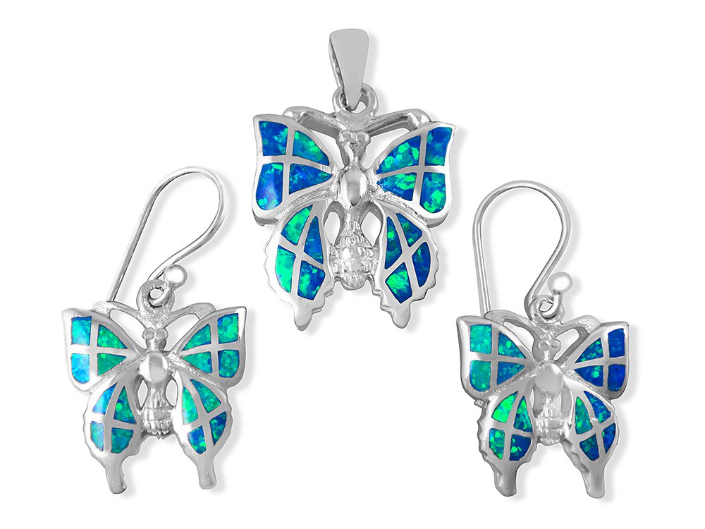 925 Sterling Silver Hawaiian Blue Fire Inlay Opal Butterfly Pendant Dangle Earrings Set