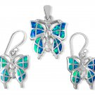 925 Sterling Silver Hawaiian Blue Fire Inlay Opal Butterfly Pendant Dangle Earrings Set