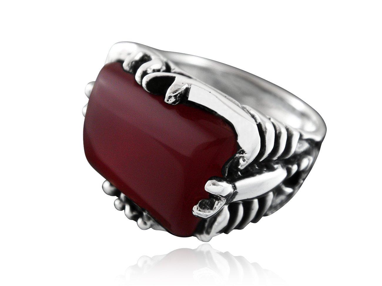 925 Sterling Silver Mens Genuine Carnelian Engraved Big Scorpion Ring