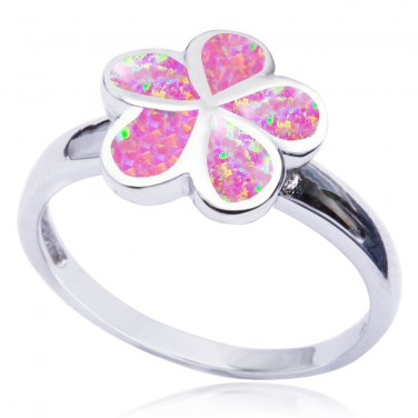 925 Sterling Silver Pink Fire Inlay Opal Plumeria Flower Lovely Ring