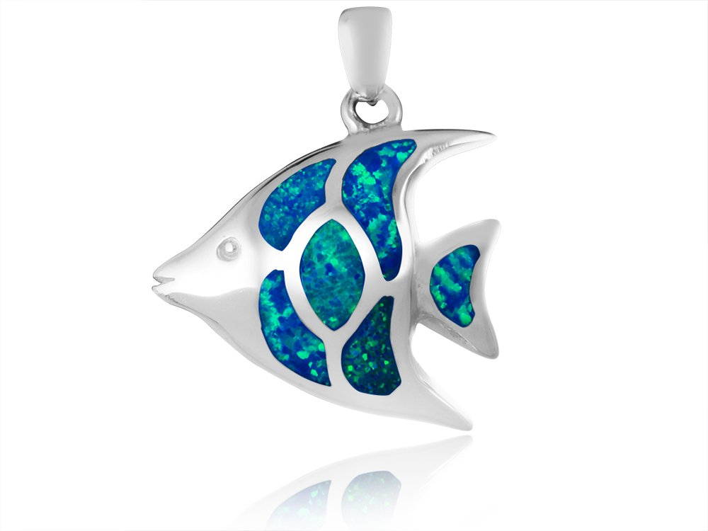 925 Sterling Silver Hawaiian Blue Sea Inlay Fire Opal Fish Lovely Charm Pendant