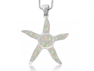 925 Sterling Silver White Inlay Fire Opal Starfish Sun Charm Pendant