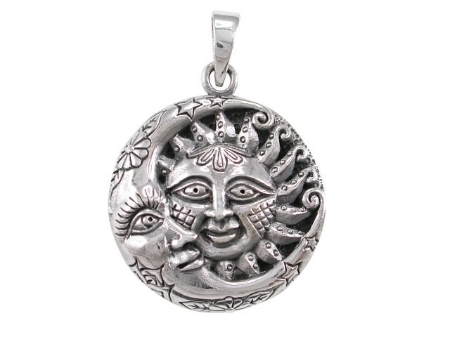 925 Sterling Silver Sun Crescent Moon Face Sky Stars Flower Filigree Charm Pendant