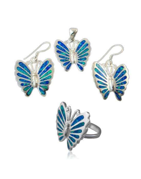 925 Sterling Silver Hawaiian Blue Inlay Fire Opal Butterfly Ring Pendant Dangle Earrings Set