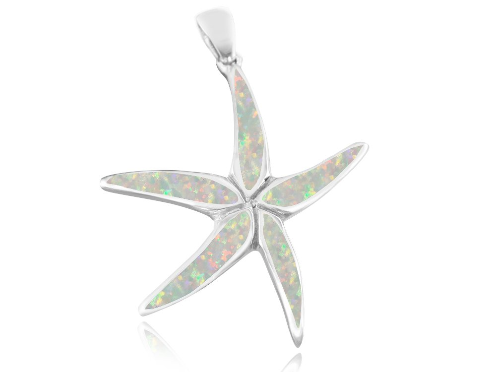 925 Sterling Silver White Fire Inlay Opal Starfish Sea Big Charm Pendant 8gr