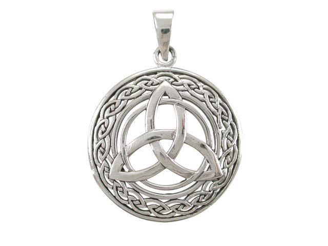 925 Sterling Silver Celtic Irish Infinity Knots Trinity Triquetra Round Charm Pendant