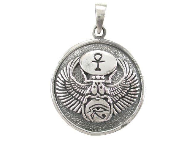 925 Sterling Silver Egyptian Eye of Horus Udjat Egypt Ankh Scarab Charm Pendant