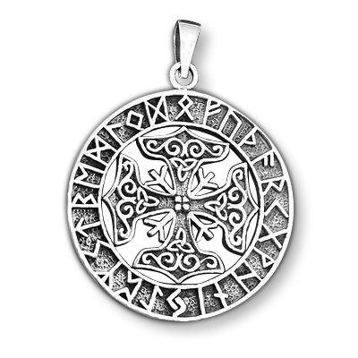 925 Sterling Silver Viking Four Thor Hammer Mjölnir Mjolnir Futhark Runes Charm Pendant