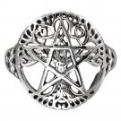 925 Sterling Silver Cut Out Ancient Tree of Life Pentacle Wiccan Pagan Pentagram Ring