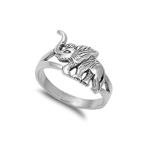 925 Sterling Silver Lucky Elephant Trunk Up Good Luck Cute Ring