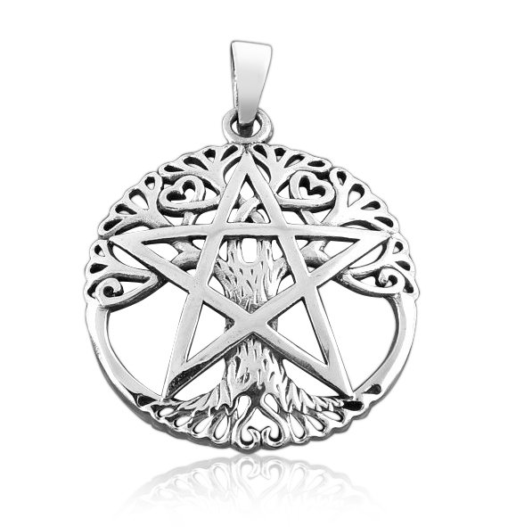 925 Sterling Silver Cut Out Ancient Tree Of Life Pentacle Wiccan Pagan Pentagram Pendant