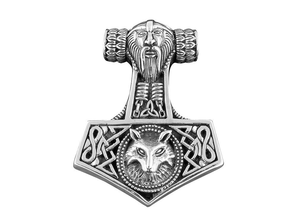 925 Sterling Silver Viking Wolf Thor Hammer Mjölnir Mjolnir Charm Pendant 33mm