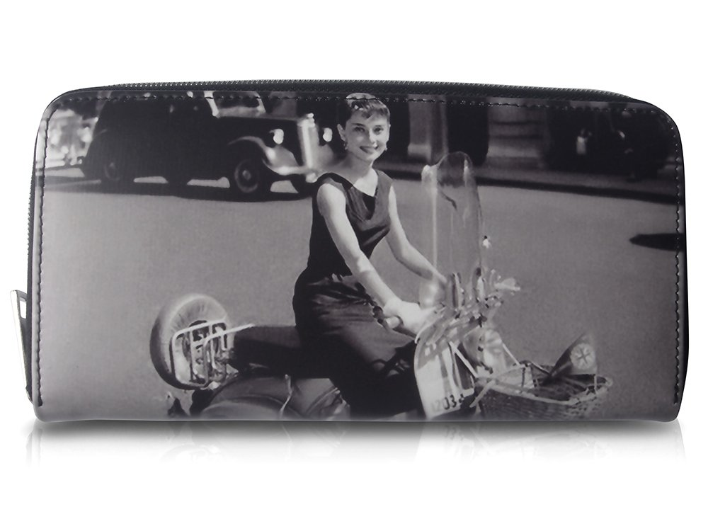 Audrey Hepburn Vespa Retro Money Coin Card ID Holder Clutch Wallet Purse Bag