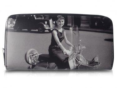 Audrey Hepburn Vespa Retro Money Coin Card ID Holder Clutch Wallet Purse Bag