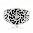 925 Sterling Silver Celtic Knot German Schwarze Sonne Black Sun Sonnenrad Ring
